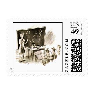 Bosquejo de la sala de clase timbres postales