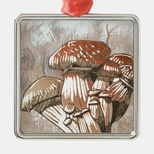 Bosquejo de la seta en marrones adorno navideño cuadrado de metal
