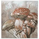Bosquejo de la seta en marrones servilleta