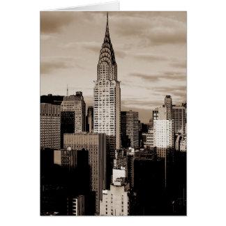 Bosquejo de la tinta de New York City de la sepia Tarjeton