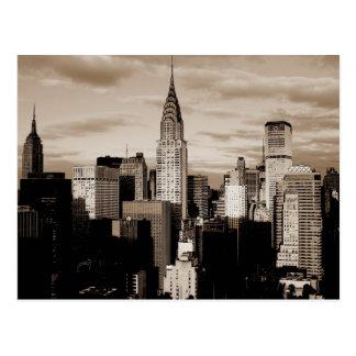 Bosquejo de la tinta de New York City de la sepia Tarjetas Postales