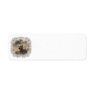 Bosquejo de la tinta de Terrier del escocés Etiqueta De Remite