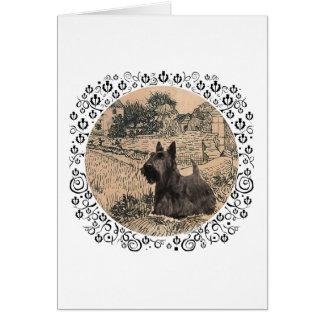Bosquejo de la tinta de Terrier del escocés Tarjeta De Felicitación
