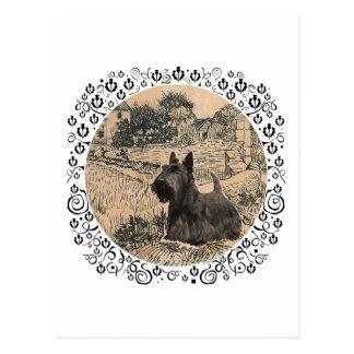Bosquejo de la tinta de Terrier del escocés Postal