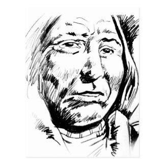 Bosquejo de la tinta del jefe indio de motivación postales