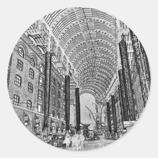 Bosquejo de Londres del Galleria del heno Pegatina Redonda