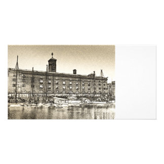 Bosquejo de Londres del muelle del St Katherine Tarjetas Con Fotos Personalizadas