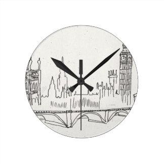 Bosquejo de Londres Reloj Redondo Mediano