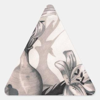 bosquejo de los lirios pegatina triangular