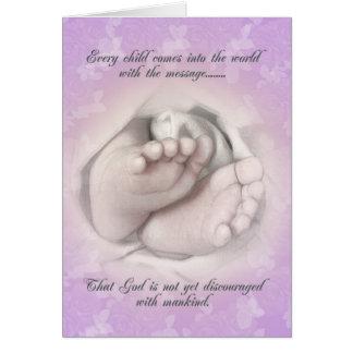 Bosquejo de los pies del bebé de la invitación del tarjeta de felicitación