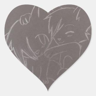 Bosquejo de los zorros pegatinas corazon personalizadas