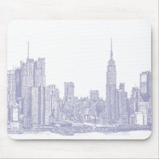 Bosquejo de NYC en azul claro Tapetes De Raton