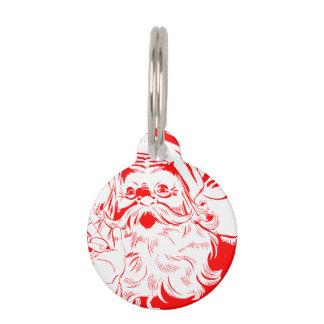 Bosquejo de Papá Noel del vintage Identificador Para Mascota