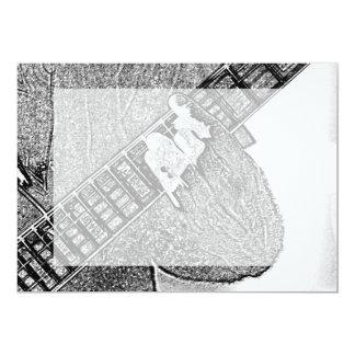 """Bosquejo de preocupación del bw de la guitarra de invitación 5"""" x 7"""""""