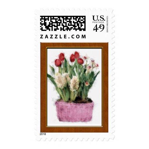Bosquejo de tulipanes rojos y de jacintos blancos