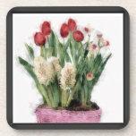 Bosquejo de tulipanes rojos y de jacintos blancos  posavasos de bebidas