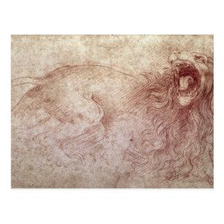 Bosquejo de un león del rugido postales