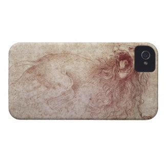 Bosquejo de un león del rugido (tiza roja en el carcasa para iPhone 4
