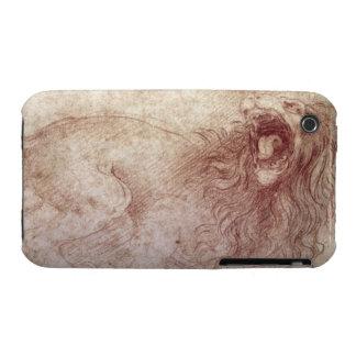Bosquejo de un león del rugido (tiza roja en el funda para iPhone 3
