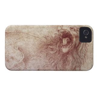 Bosquejo de un león del rugido (tiza roja en el funda para iPhone 4 de Case-Mate