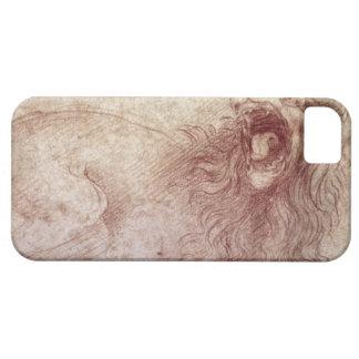 Bosquejo de un león del rugido (tiza roja en el funda para iPhone SE/5/5s