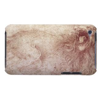 Bosquejo de un león del rugido (tiza roja en el funda para iPod