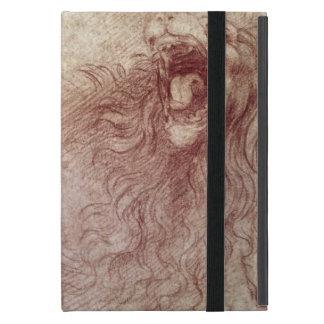 Bosquejo de un león del rugido (tiza roja en el iPad mini cobertura