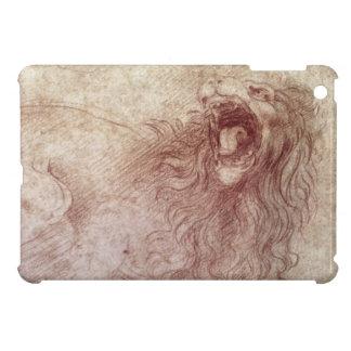 Bosquejo de un león del rugido (tiza roja en el pa