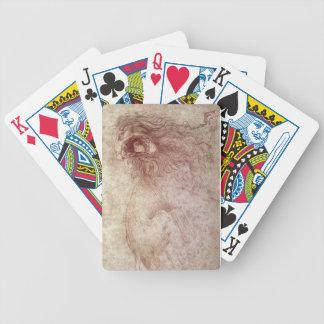 Bosquejo de un león del rugido (tiza roja en el pa barajas de cartas