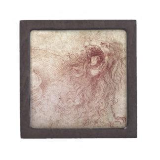 Bosquejo de un león del rugido (tiza roja en el pa caja de joyas de calidad