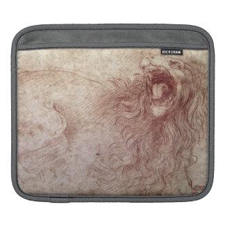 Bosquejo de un león del rugido (tiza roja en el pa fundas para iPads