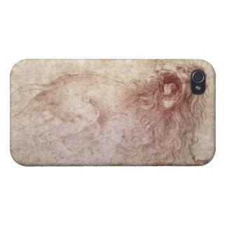 Bosquejo de un león del rugido (tiza roja en el pa iPhone 4/4S carcasa