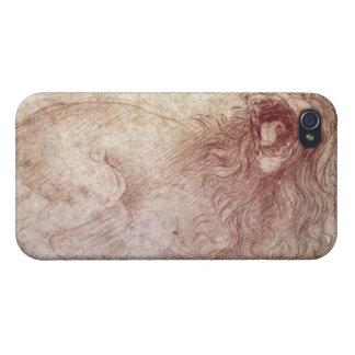 Bosquejo de un león del rugido (tiza roja en el pa iPhone 4/4S funda