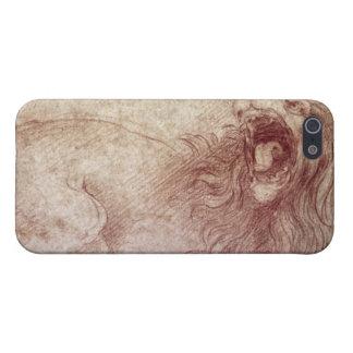 Bosquejo de un león del rugido (tiza roja en el pa iPhone 5 funda