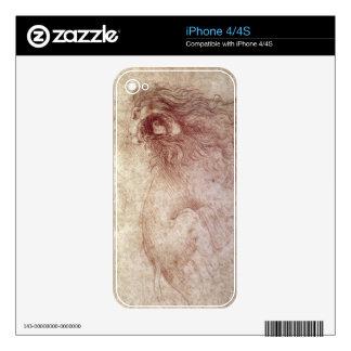 Bosquejo de un león del rugido (tiza roja en el pa skins para iPhone 4S