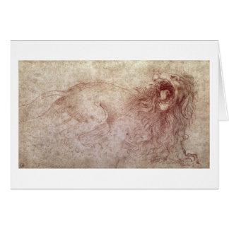 Bosquejo de un león del rugido (tiza roja en el pa tarjeta de felicitación