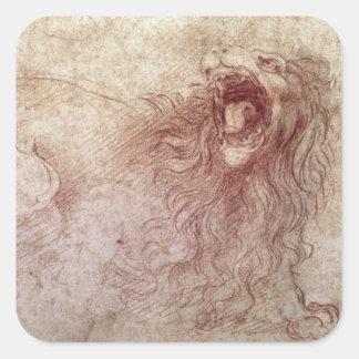 Bosquejo de un león del rugido (tiza roja en el pegatina cuadrada