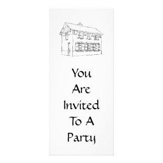 Bosquejo de una casa vieja con los obturadores invitación personalizada