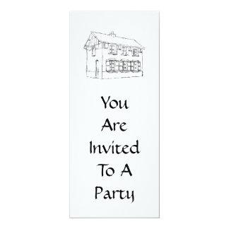 """Bosquejo de una casa vieja, con los obturadores invitación 4"""" x 9.25"""""""