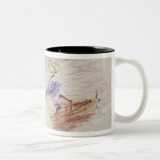Bosquejo de una mujer joven en un barco, 1886 (w/c taza de dos tonos