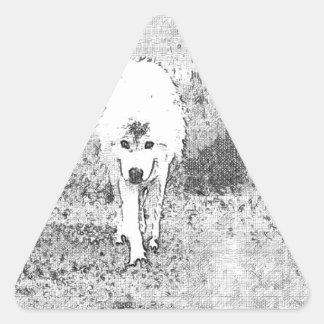 Bosquejo de White Wolf en pluma y tinta Pegatina Triangular