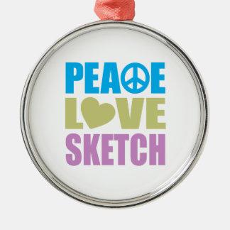 Bosquejo del amor de la paz adorno redondo plateado