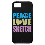 Bosquejo del amor de la paz iPhone 5 Case-Mate protectores