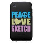 Bosquejo del amor de la paz tough iPhone 3 carcasas