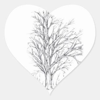 Bosquejo del arte del dibujo de la tinta del negro pegatina en forma de corazón