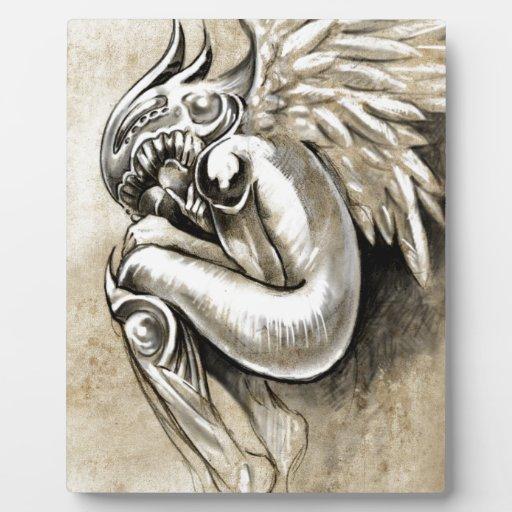 Bosquejo del arte del tatuaje, ángel del cielo con placa de plastico