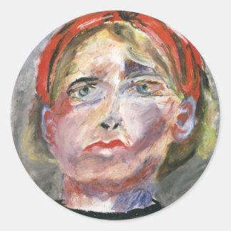 Bosquejo del artista - retrato de un modelo pegatina redonda