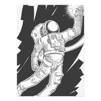 Bosquejo del astronauta o del astronauta que ase u invitaciones personalizada