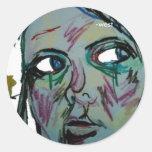 bosquejo del autorretrato, - del oeste pegatina redonda