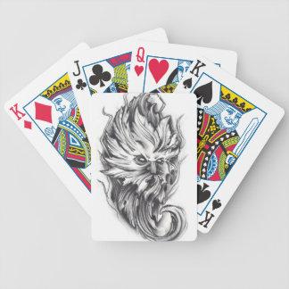 Bosquejo del carbón de leña del hombre verde barajas de cartas